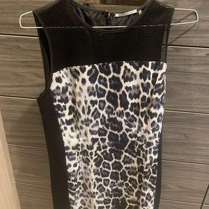 Sleeveless black and animal print sheath dress